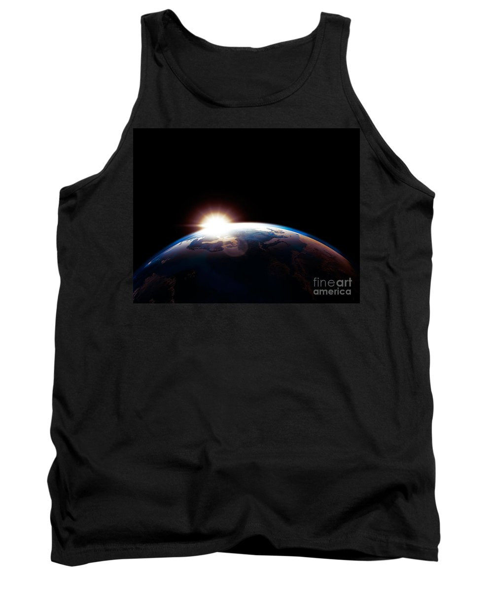 Earth Tank Top featuring the photograph Sun Rising From Behind Planet Earth Outline by Oleksiy Maksymenko
