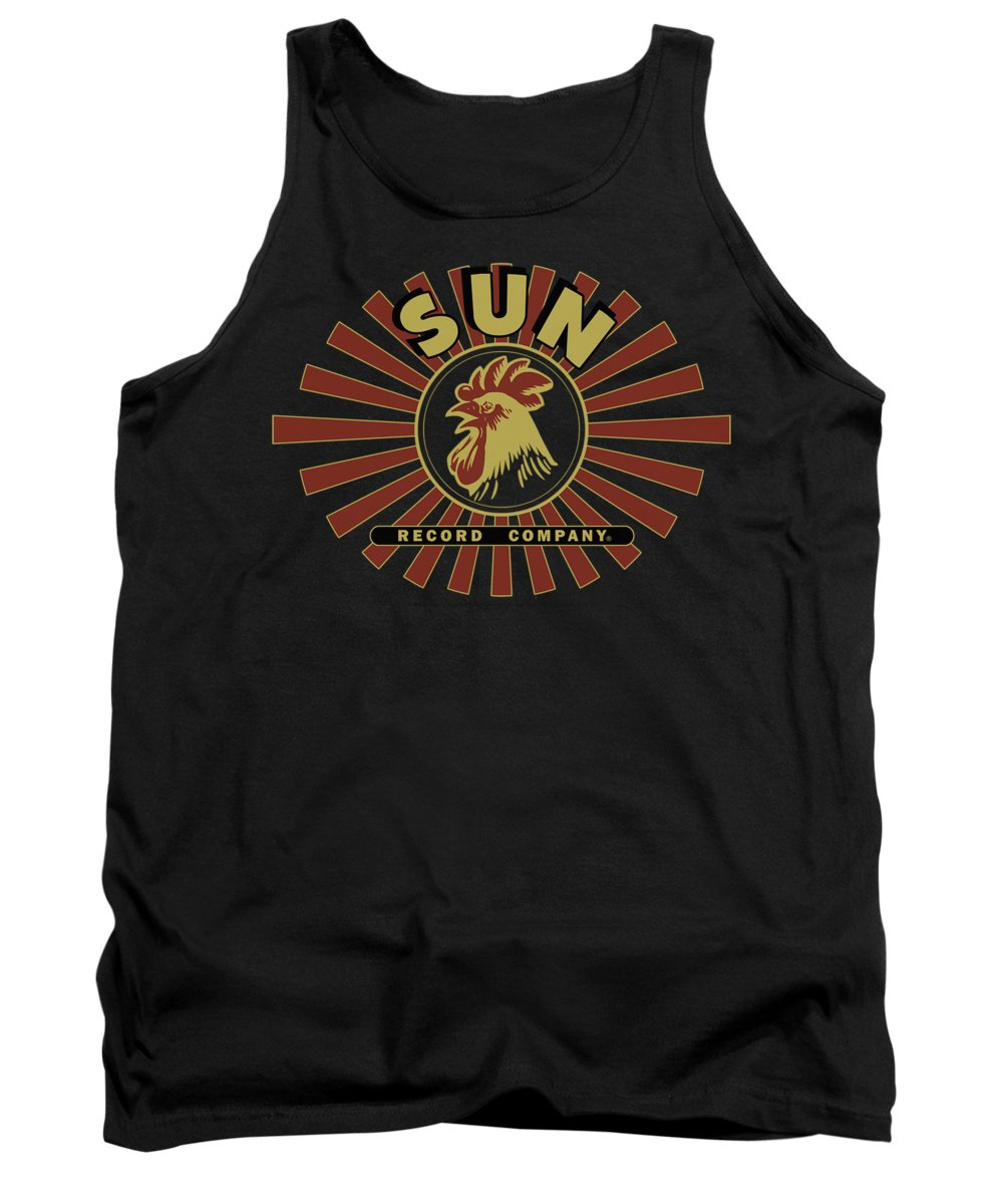 Sun Record Company Tank Top featuring the digital art Sun - Sun Ray Rooster by Brand A