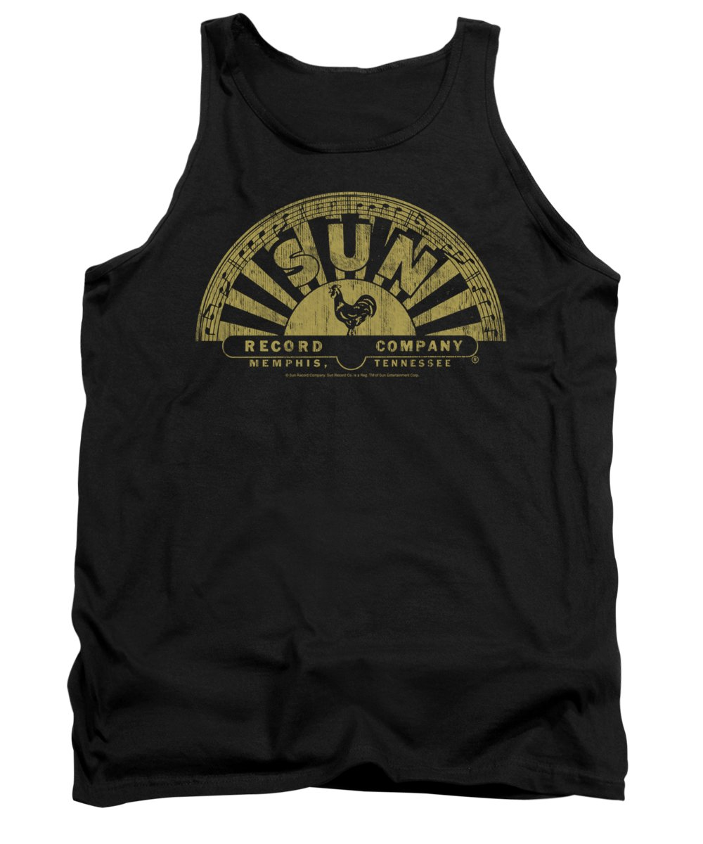 Sun Record Company Tank Top featuring the digital art Sun - Tattered Logo by Brand A