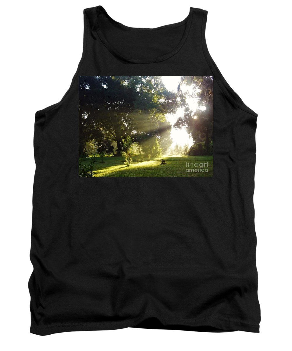 Sunshine Tank Top featuring the photograph Sunbeam Landscape by D Hackett