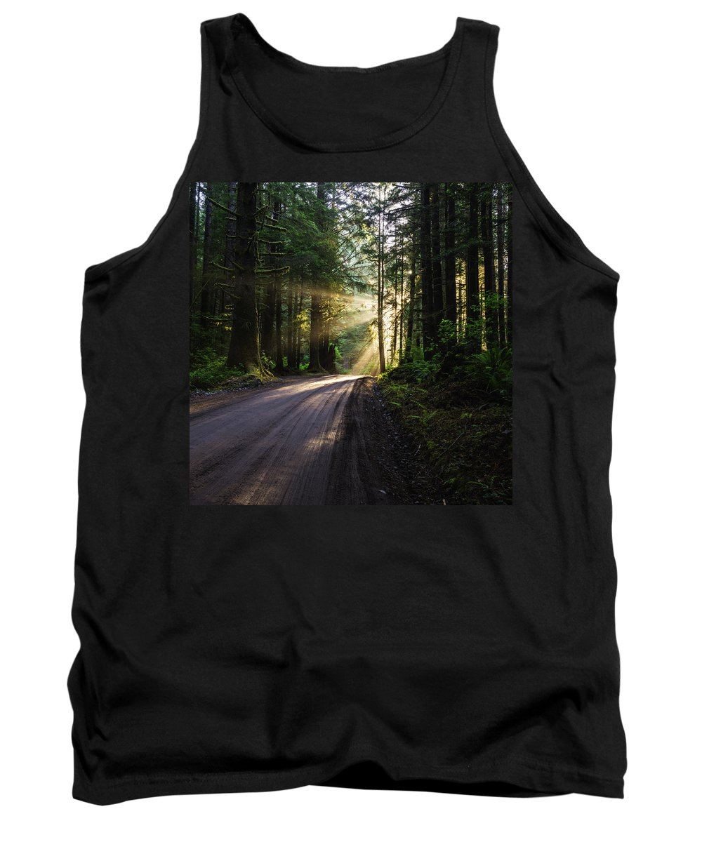 God Rays Tank Top featuring the photograph Sunburst At Redwood National Park by Vishwanath Bhat