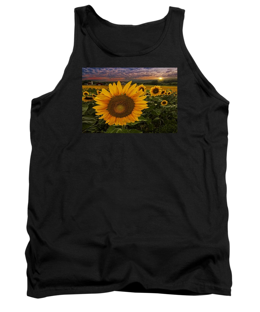 Sunflower Tank Top featuring the photograph Sunflower Field Forever by Susan Candelario