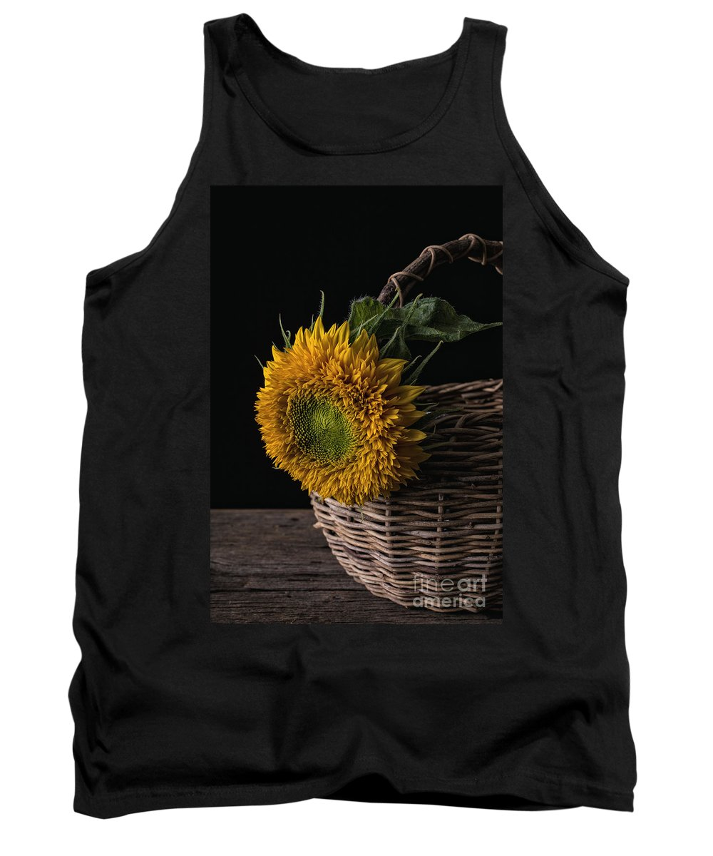 Flower Tank Top featuring the photograph Sunflower In A Basket by Edward Fielding