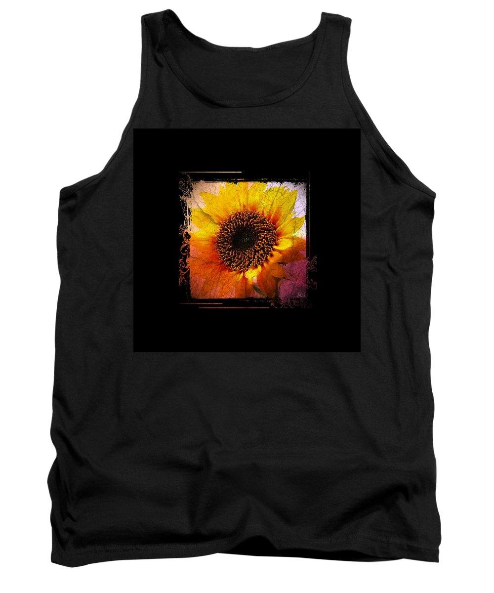 Sunflower Tank Top featuring the digital art Sunflower Sunset - Art Nouveau by Absinthe Art By Michelle LeAnn Scott