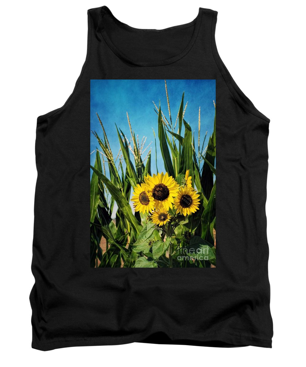 Autumn Tank Top featuring the photograph Sunflowers In The Corn Field by Peggy Hughes