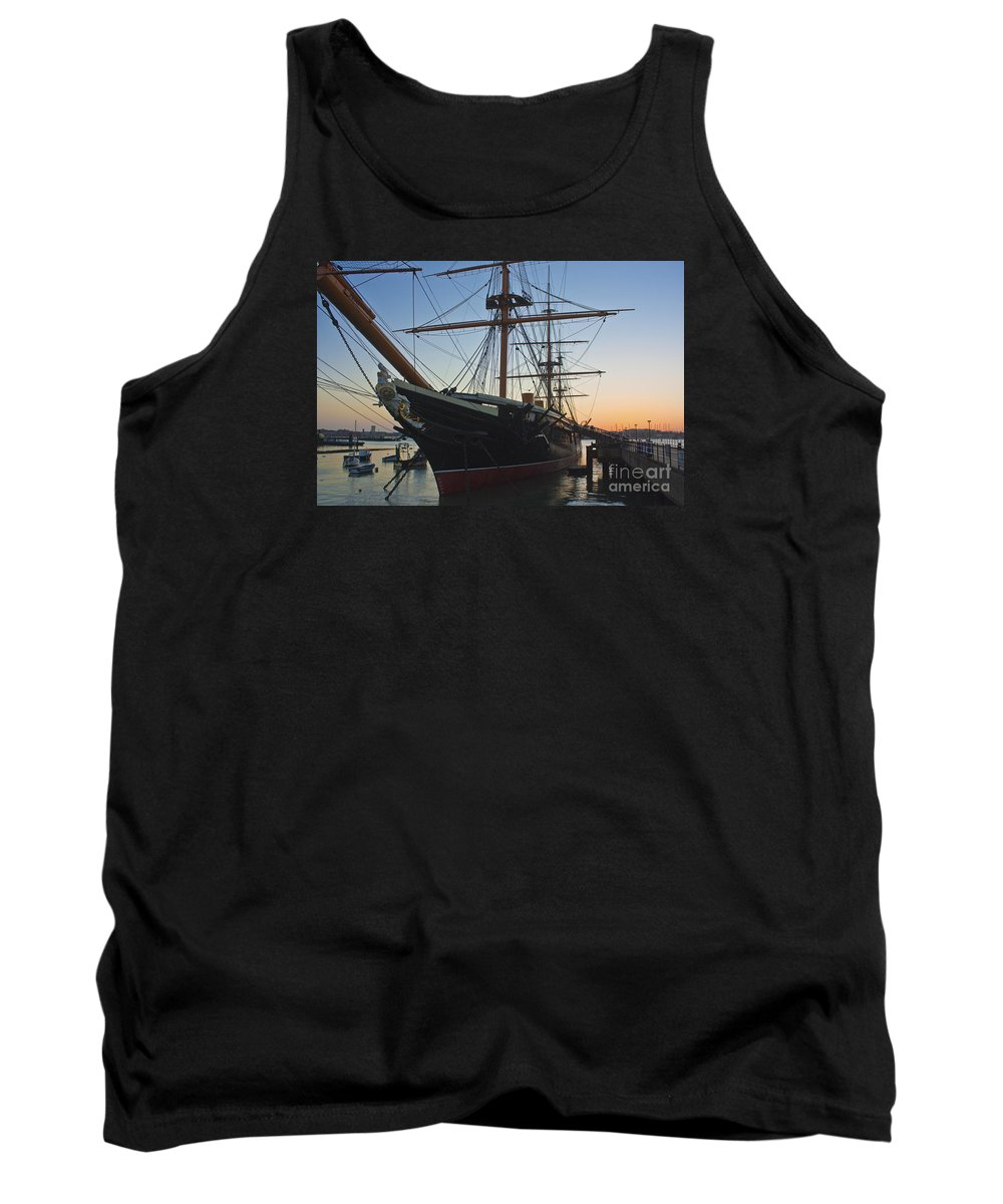 Hms Warrior Tank Top featuring the photograph Sunset Behind Hms Warrior by Terri Waters
