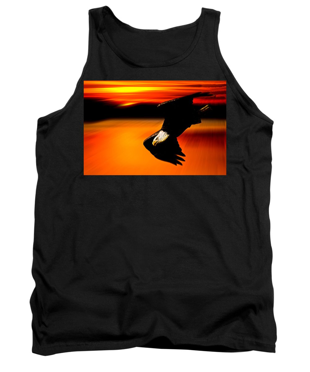 Eagle Tank Top featuring the photograph Sunset Dive by Randall Branham