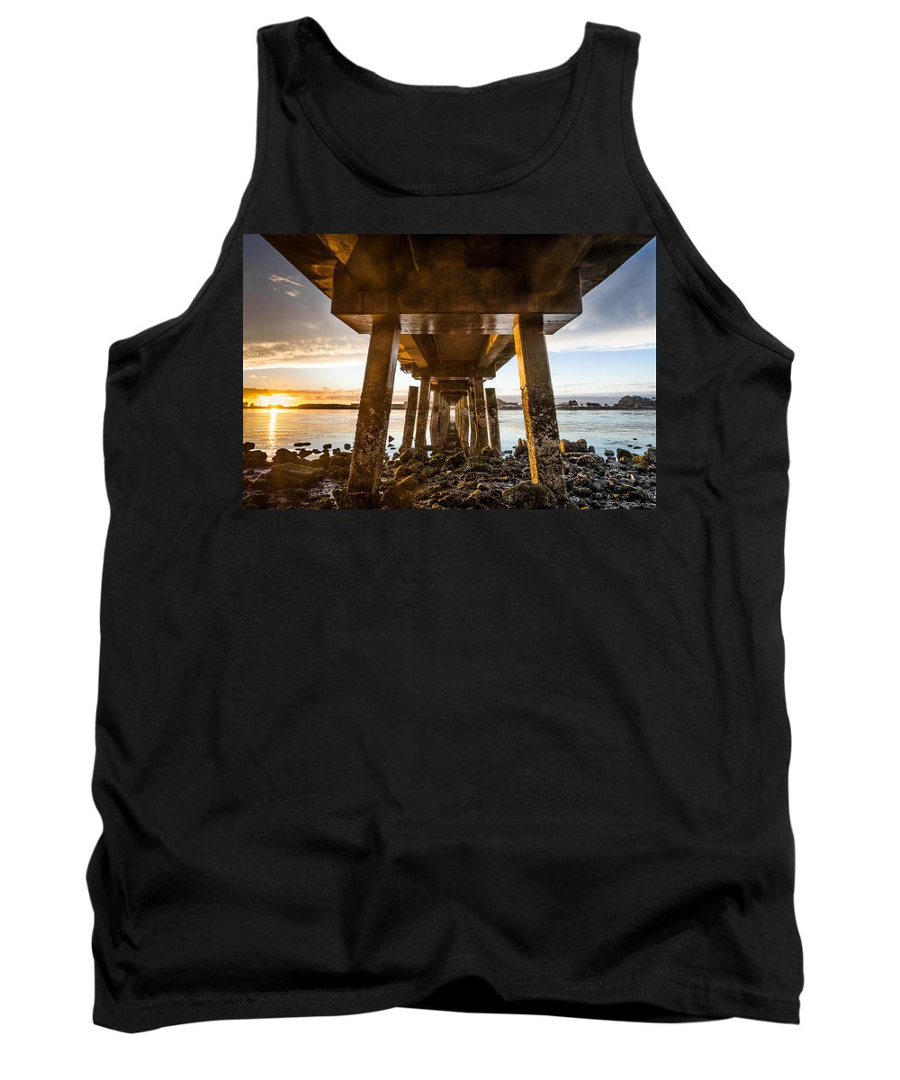 Humboldt Bay Tank Top featuring the photograph Sunset From Under The Pier by Greg Nyquist