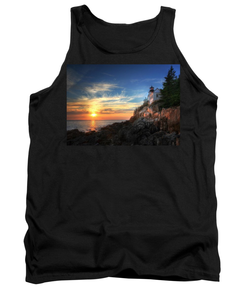 Acadia National Park Tank Top featuring the photograph Sunset Glow At Bass Harbor by Lori Deiter