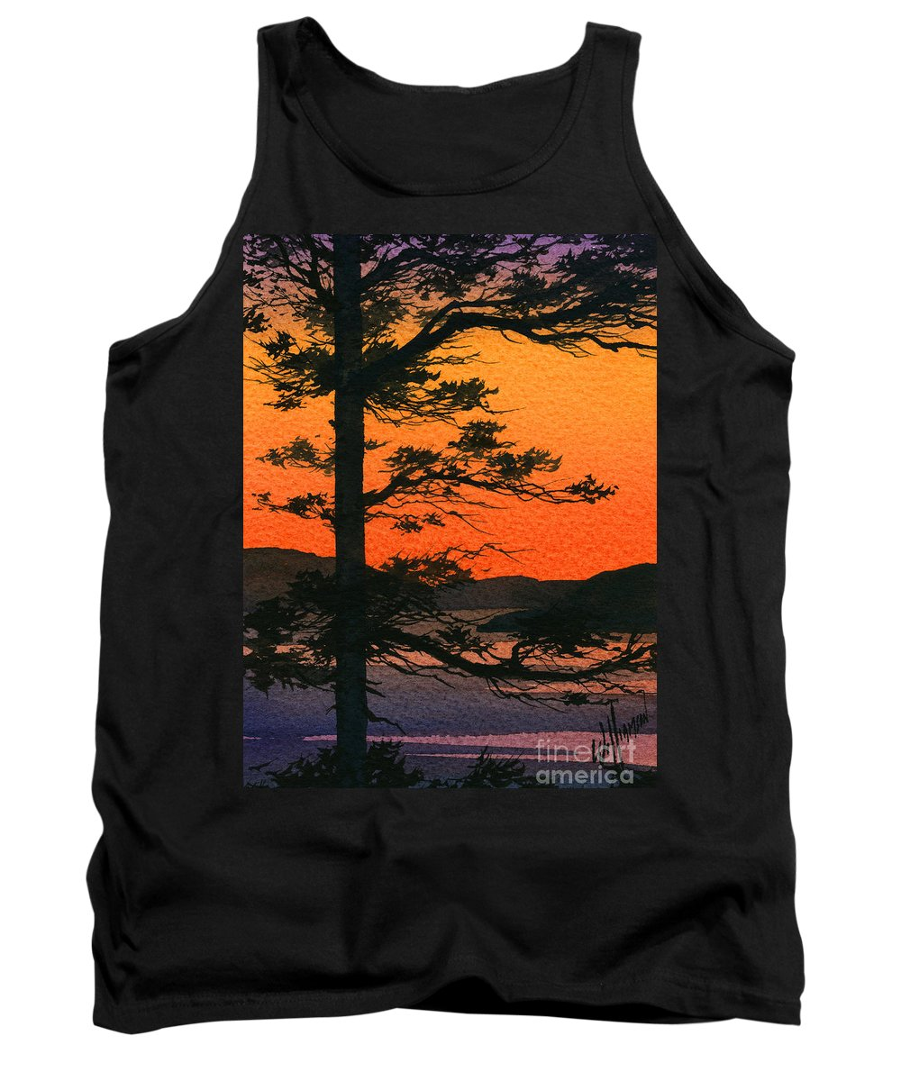 Landscape Fine Art Print Tank Top featuring the painting Sunset Glow by James Williamson