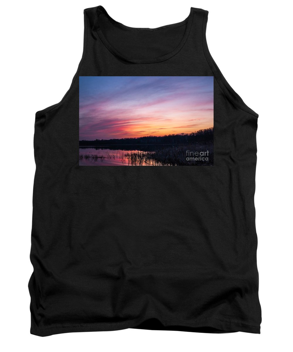 Sunset Tank Top featuring the photograph Sunset On Teeple Lake by Patrick Shupert