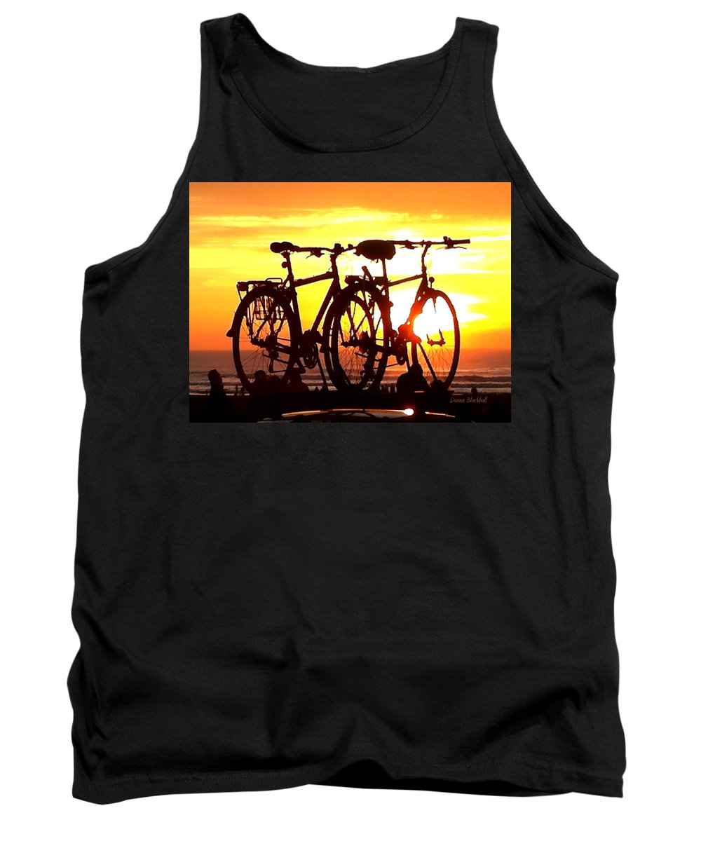 Bikes Tank Top featuring the photograph Sunset Ride by Donna Blackhall
