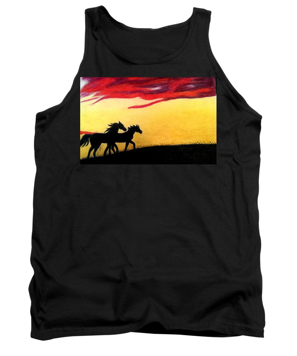 Horse Tank Top featuring the pastel Sunset Stroll by Connie Blevins