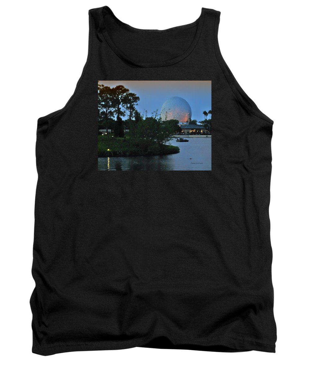 Sunset Tank Top featuring the photograph Sunset World Showcase Lagoon by Thomas Woolworth