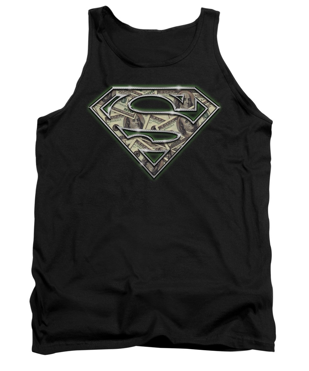 Superman Tank Top featuring the digital art Superman - All About The Benjamins by Brand A