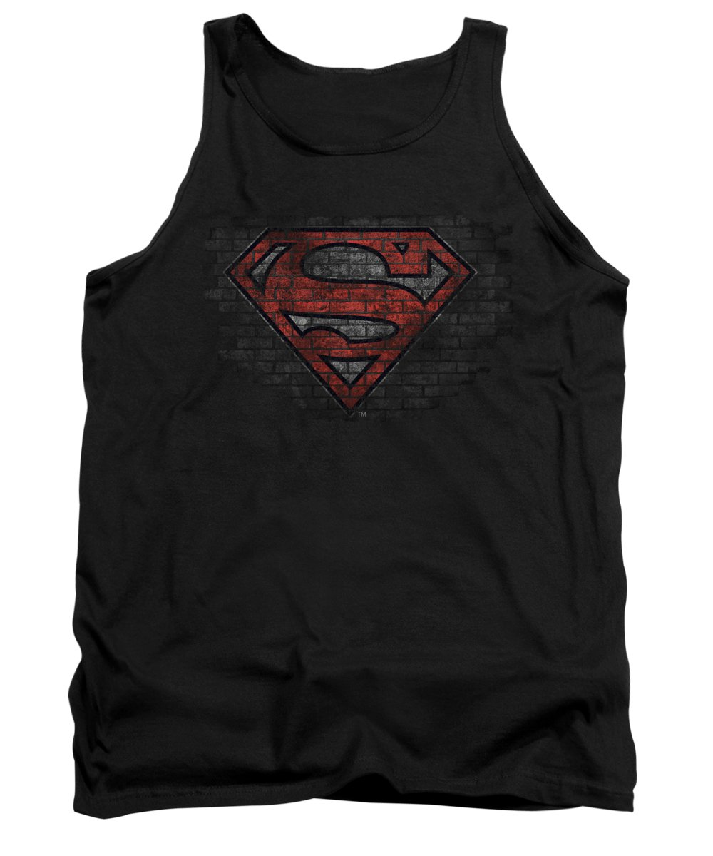 Superman Tank Top featuring the digital art Superman - Brick S by Brand A