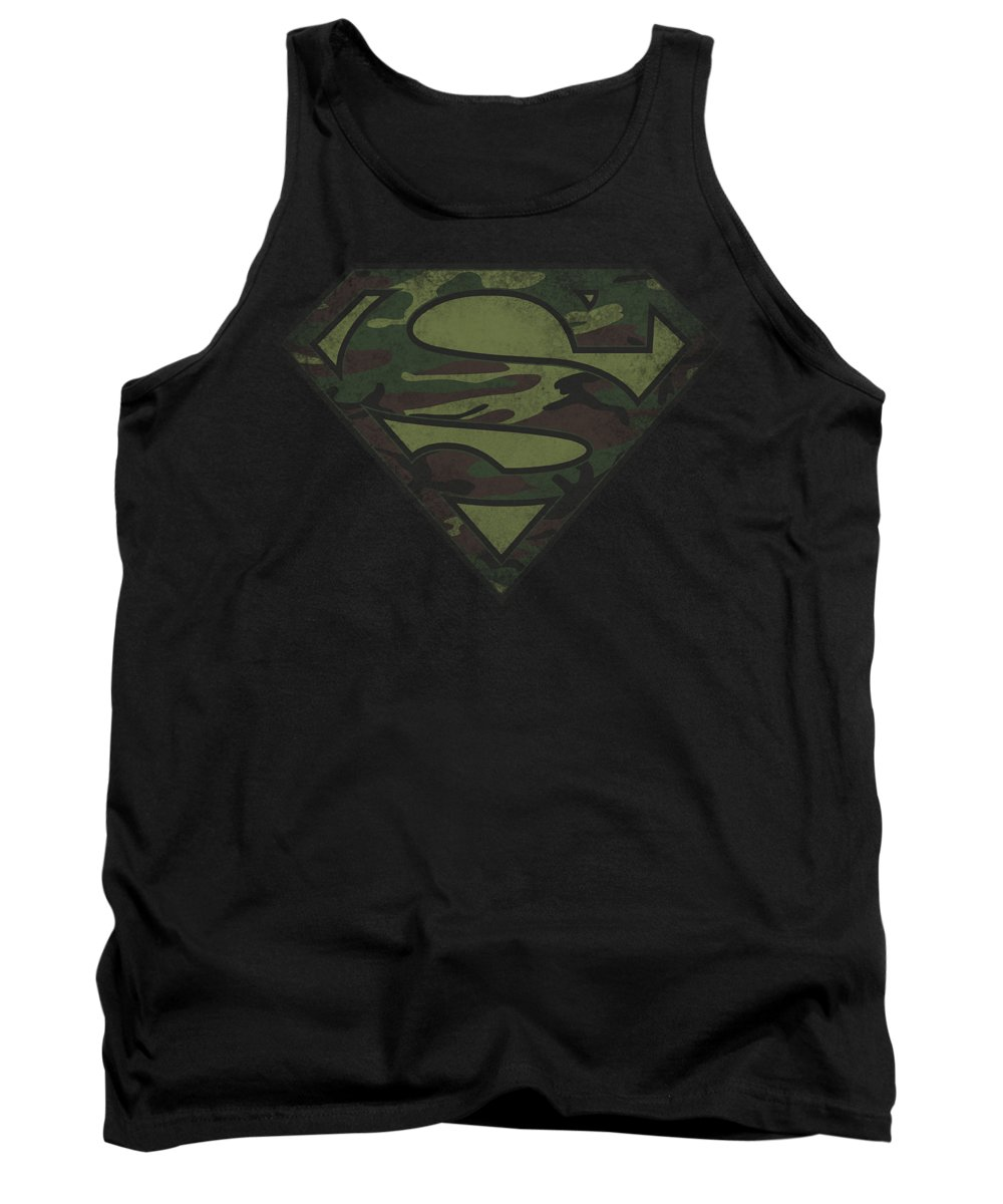 Superman Tank Top featuring the digital art Superman - Camo Logo Distressed by Brand A