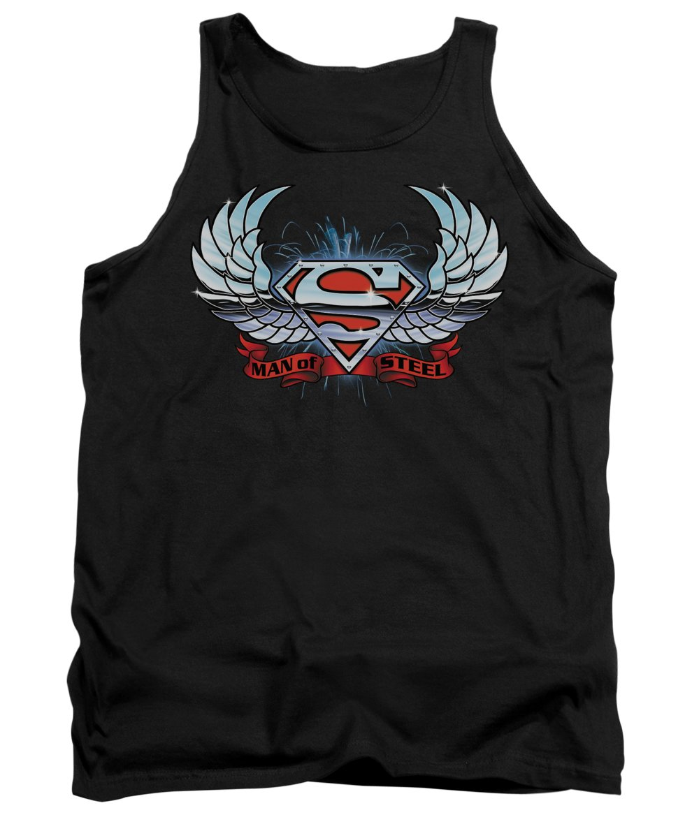 Superman Tank Top featuring the digital art Superman - Chrome Wings Shield by Brand A