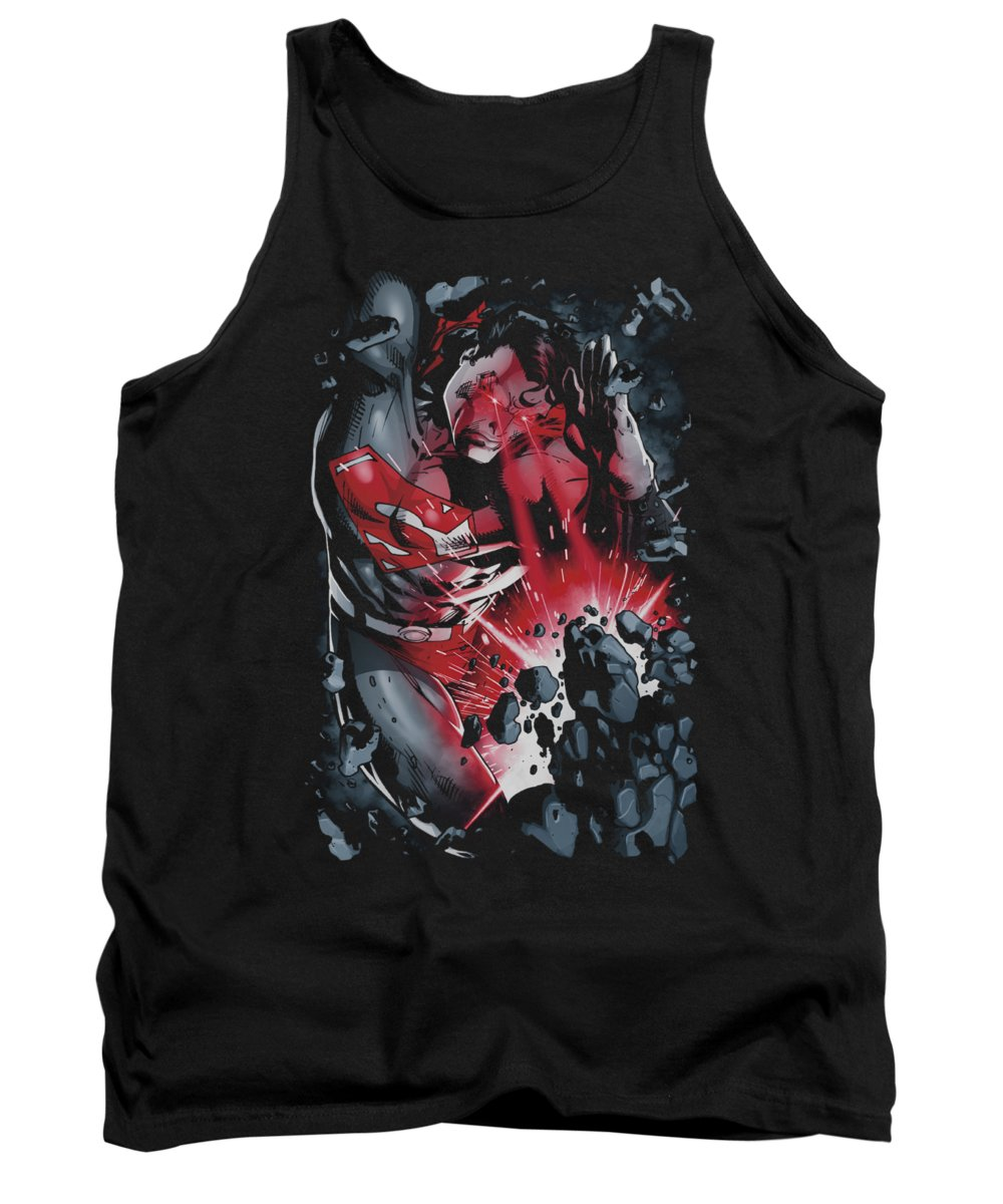 Superman Tank Top featuring the digital art Superman - Heat Blast by Brand A