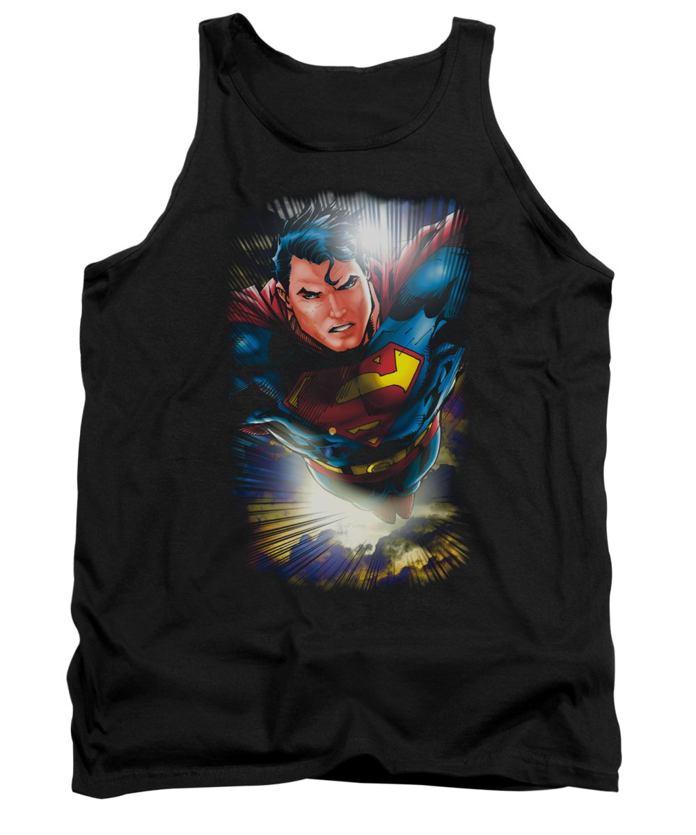 Superman Tank Top featuring the digital art Superman - In The Sky by Brand A