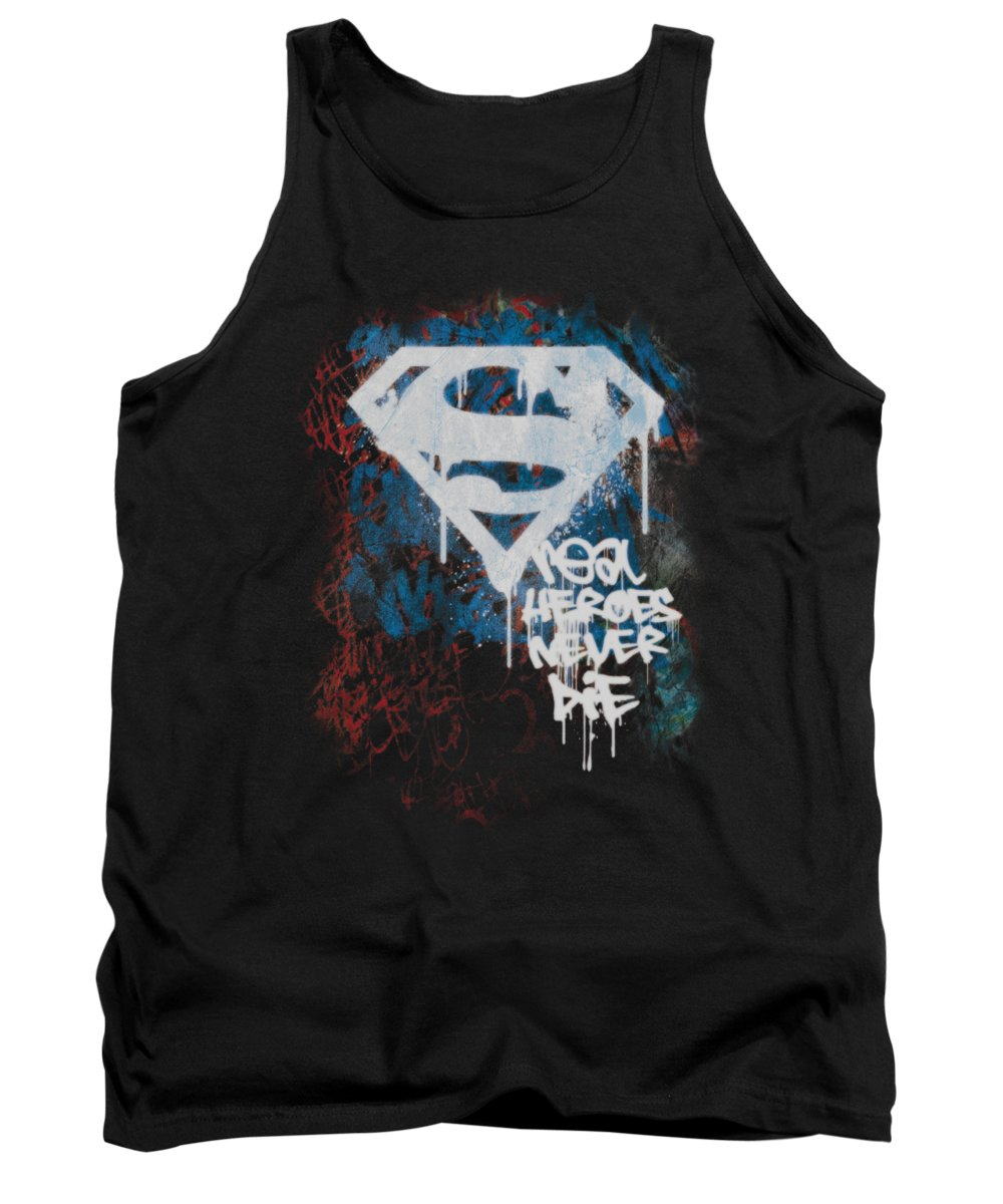 Superman Tank Top featuring the digital art Superman - Real Heroes Never Die by Brand A