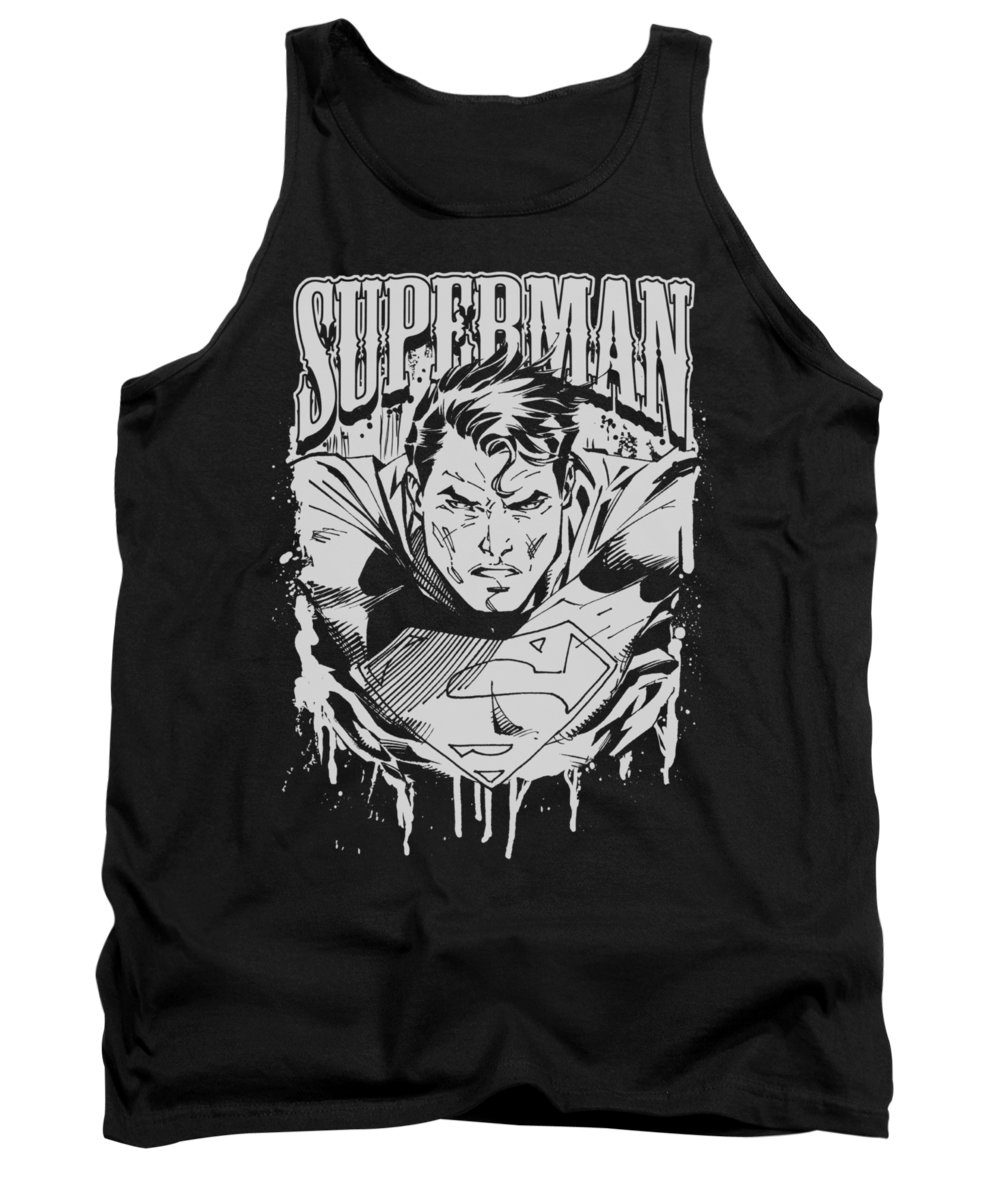 Superman Tank Top featuring the digital art Superman - Super Metal by Brand A