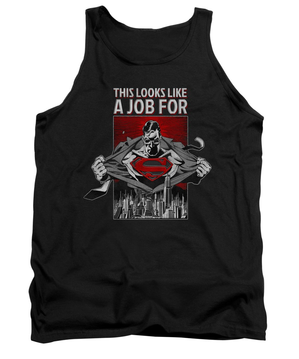 Superman Tank Top featuring the digital art Superman - Watchful Eye by Brand A
