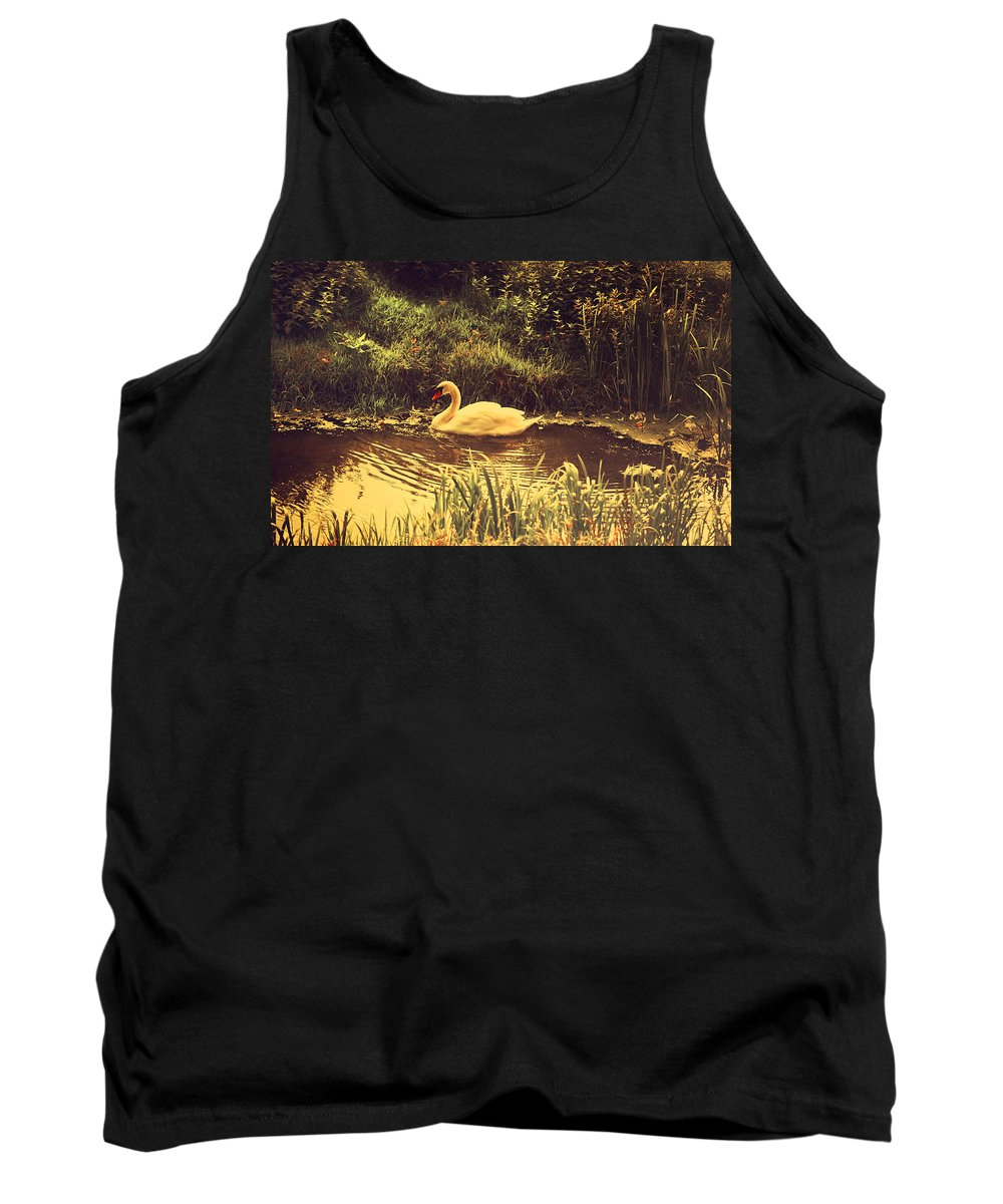 Swan Tank Top featuring the photograph Swan At The Golden Lake by Jenny Rainbow