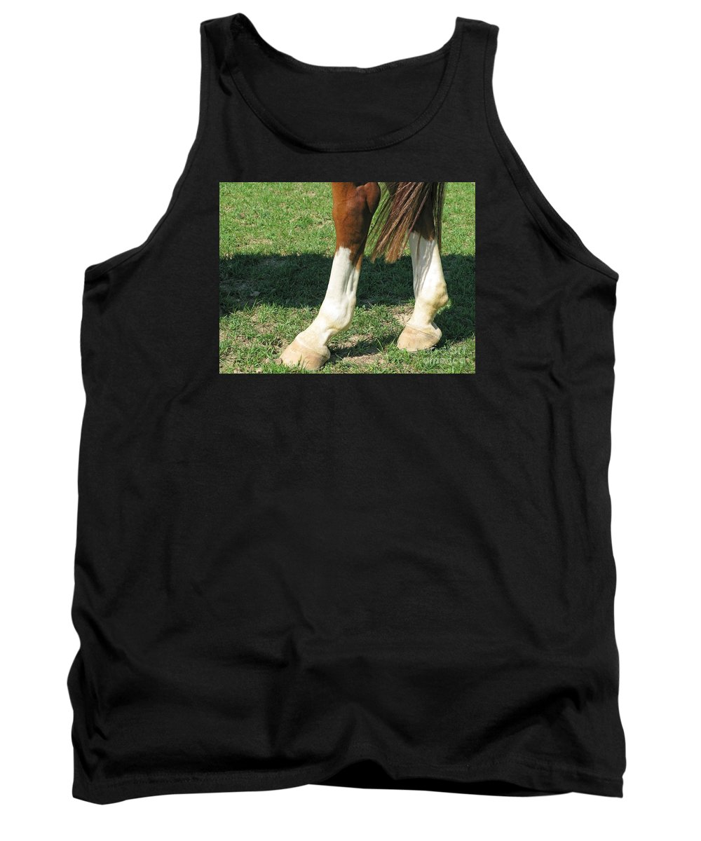 Horse Tank Top featuring the photograph Tail End by Ann Horn