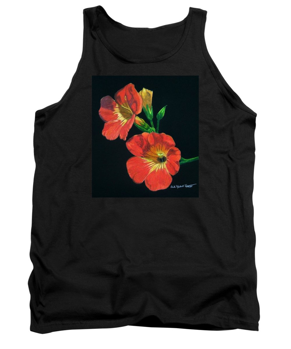 Petunia Tank Top featuring the drawing Tangerine by Anita Putman