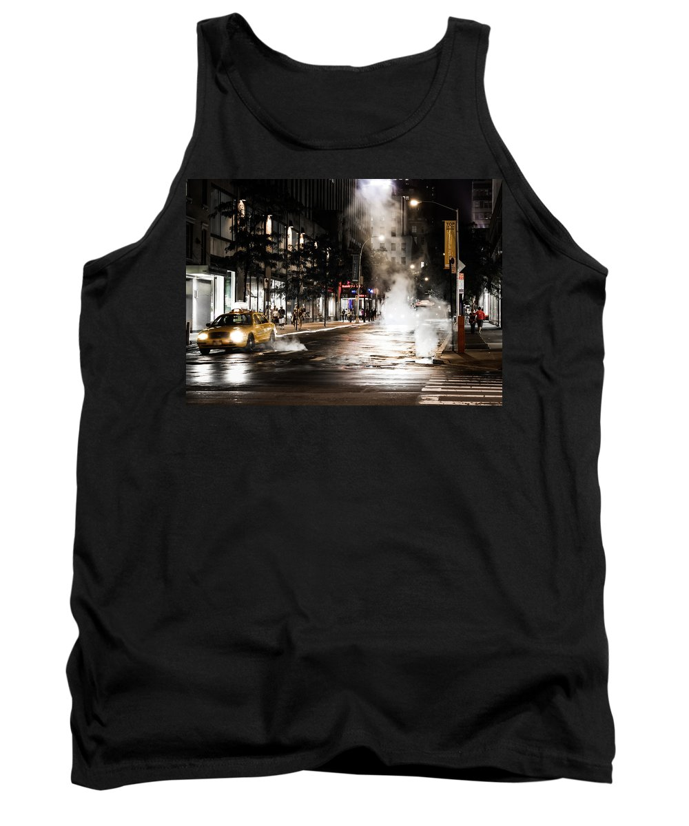 Taxi Tank Top featuring the photograph Taxi And Smoke by Sam Garcia