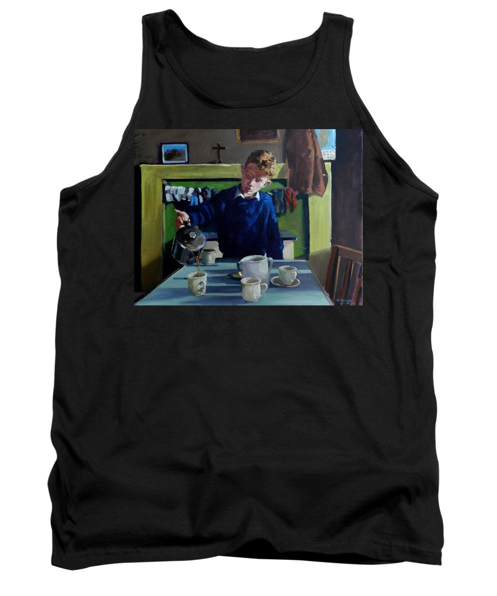 Ireland Tank Top featuring the painting Tea For Three Me Da Me Ma And Me by Robert Teeling