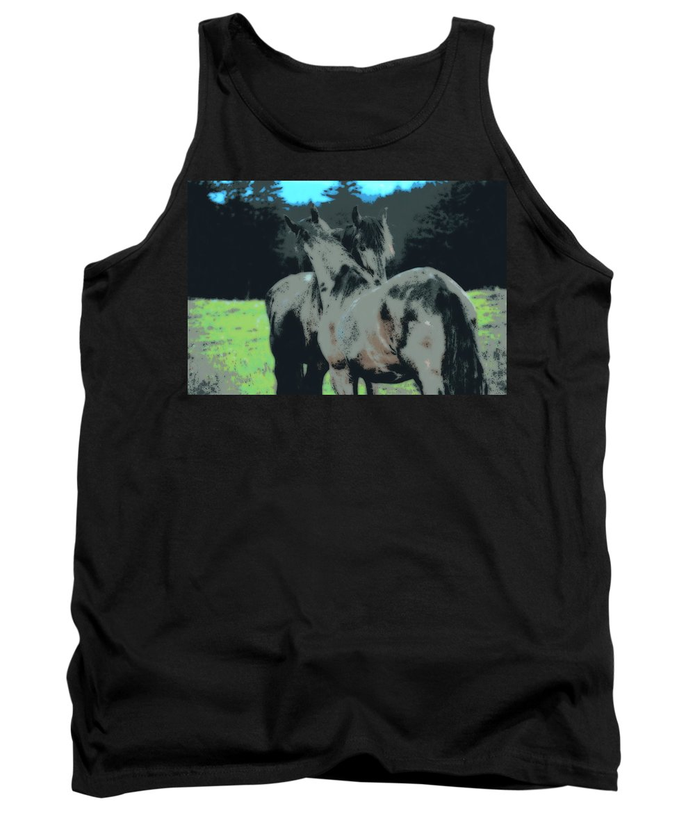 Horse Tank Top featuring the digital art Teamwork by Kathy Sampson