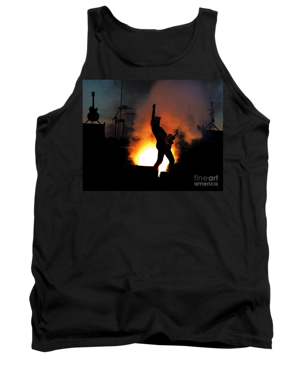 Ron Tackett Tank Top featuring the photograph Ted Nugent On Fire by Ron Tackett