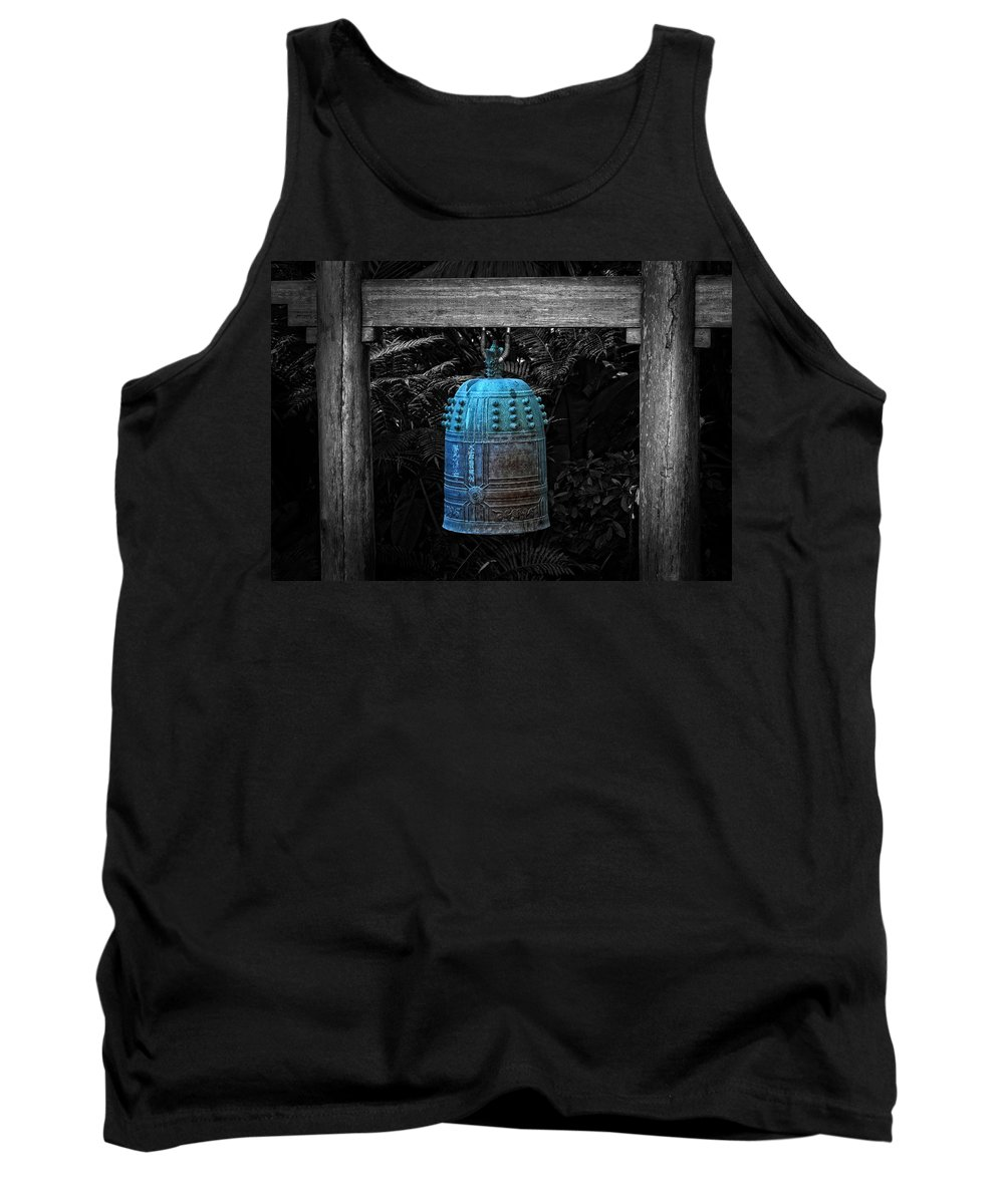 Temple Tank Top featuring the photograph Temple Bell - Buddhist Photography By William Patrick And Sharon Cummings by Sharon Cummings
