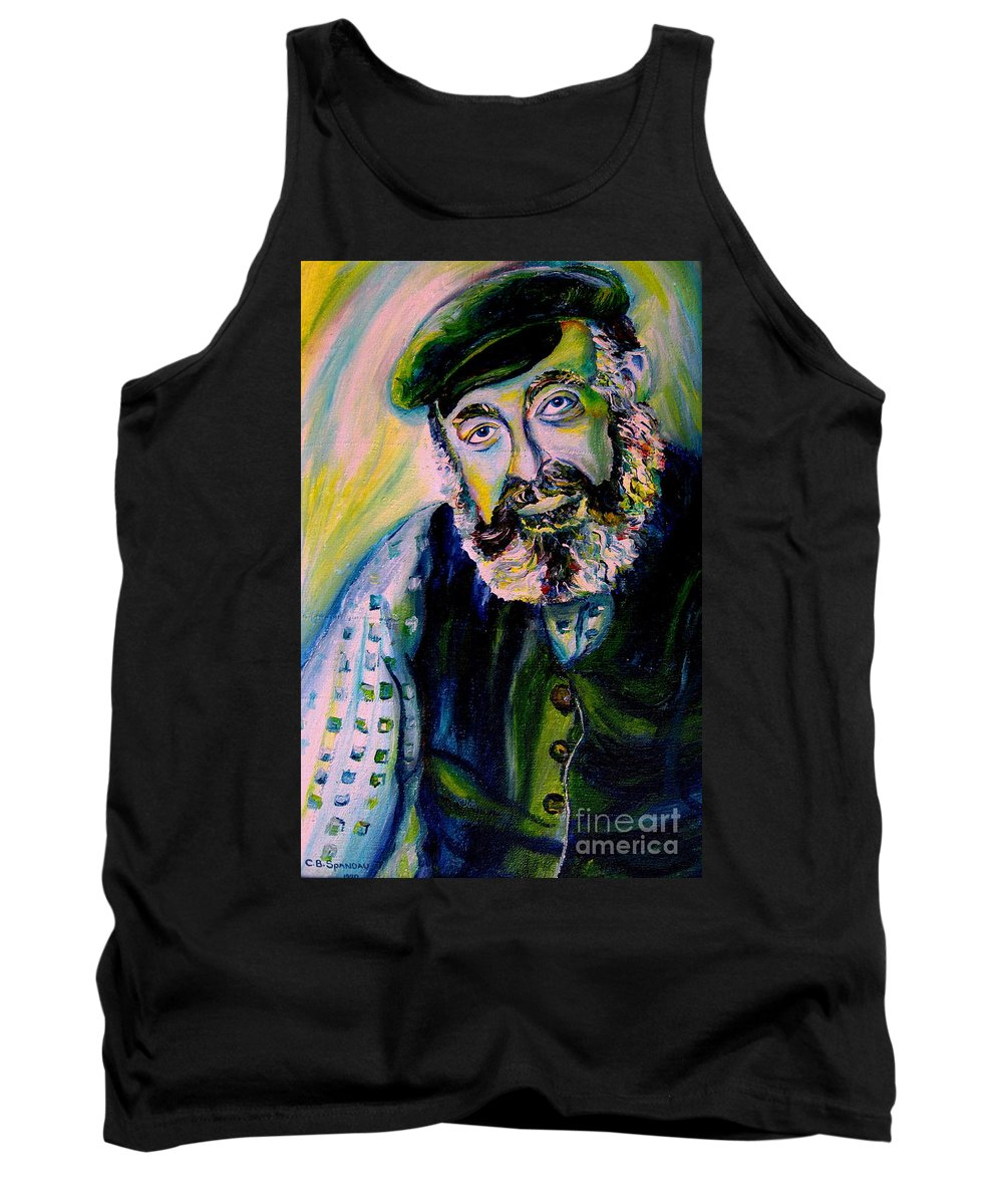 Tevye Fiddler On The Roof Tank Top featuring the painting Tevye Fiddler On The Roof by Carole Spandau