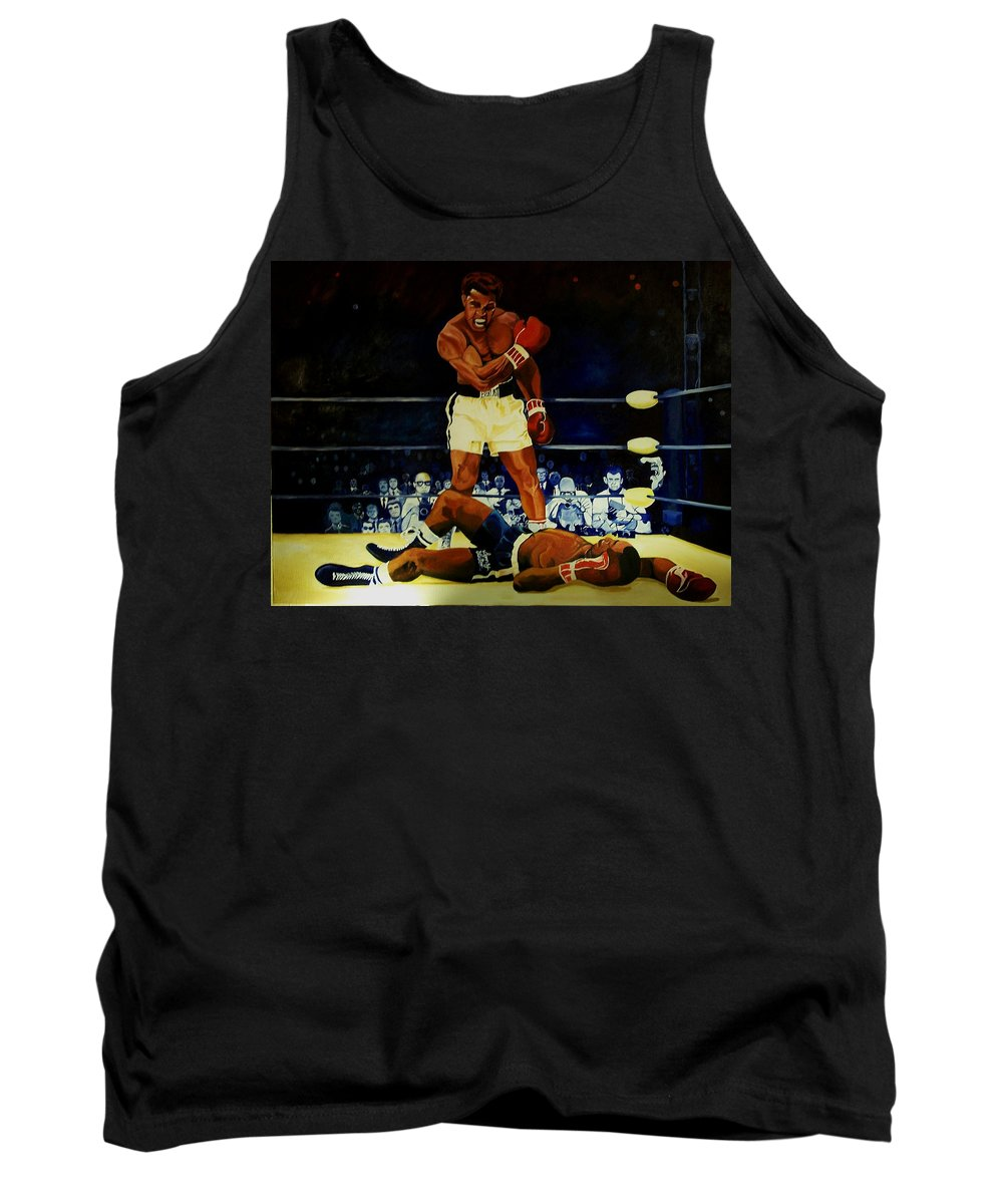 Iconic Athelete Muhammad Ali Vs. Sonny Liston Tank Top featuring the painting The 2nd Fight by Charis Kelley