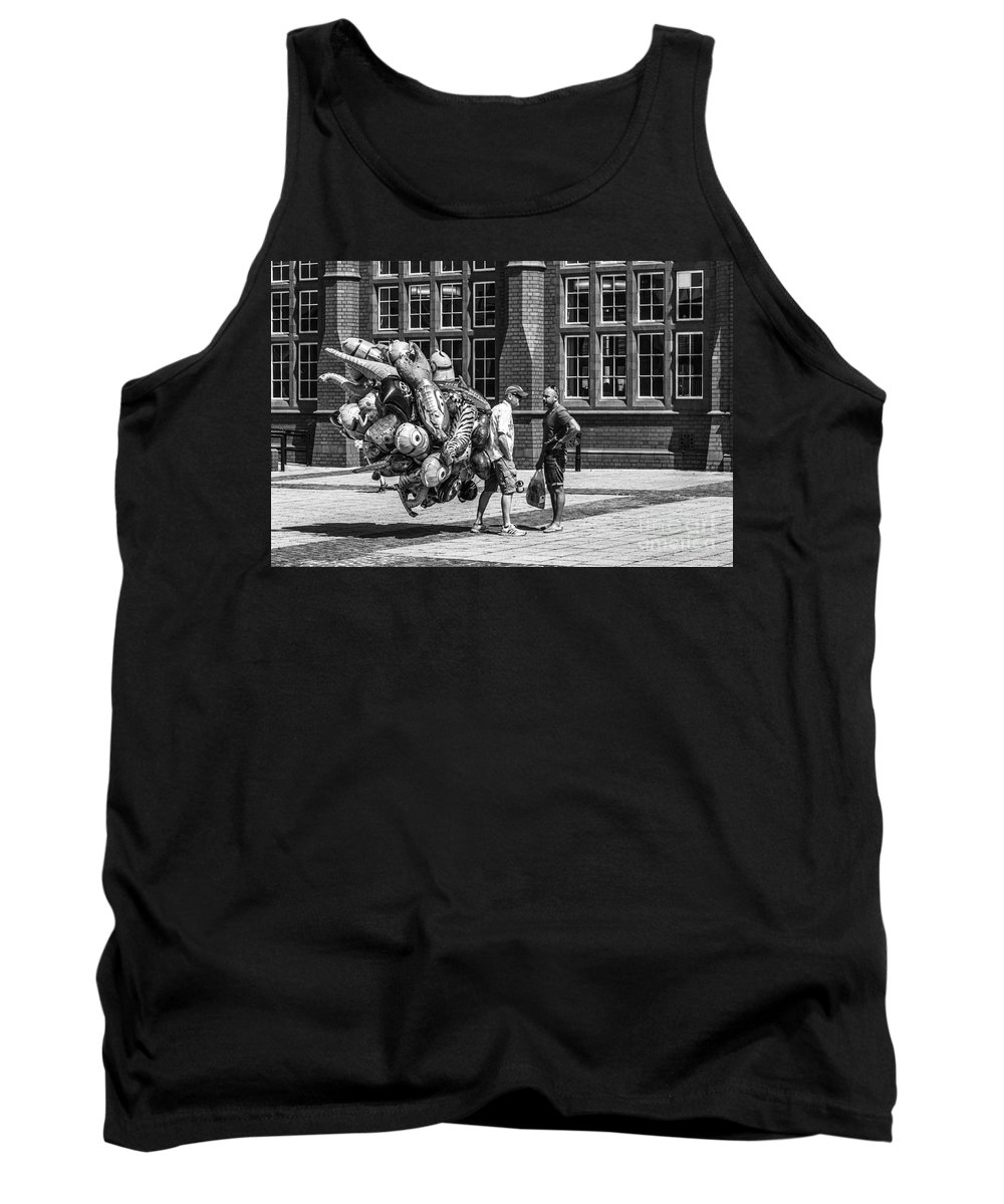 Balloon Seller Tank Top featuring the photograph The Balloon Seller Mono by Steve Purnell