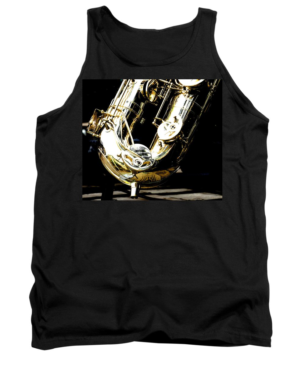 Brass Tank Top featuring the photograph The Baritone Saxophone by Steve Taylor