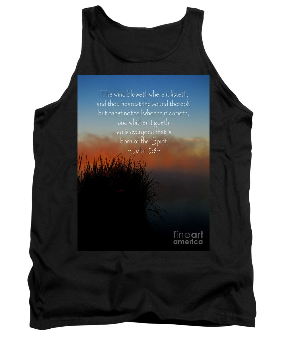 Jesus Christ Tank Top featuring the photograph The Bible John Three Eight by Ron Tackett
