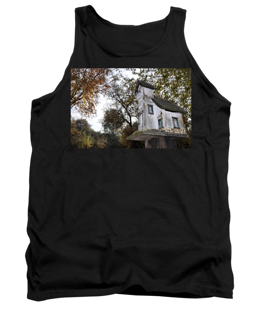 Melba; Idaho; Birdhouse; Shelter; Outdoor; Fall; Autumn; Leaves; Plant; Vegetation; Land; Landscape; Tree; Branch; House; Tank Top featuring the photograph The Birdhouse Kingdom - Mountain Chickadee by Image Takers Photography LLC - Carol Haddon