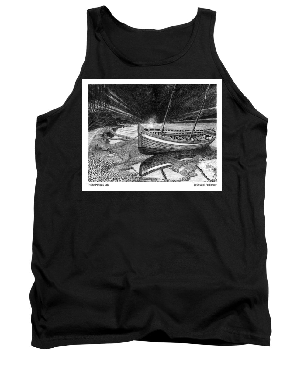 Artwork Of Yachts Tank Top featuring the drawing Captain Vancouvers Gig by Jack Pumphrey