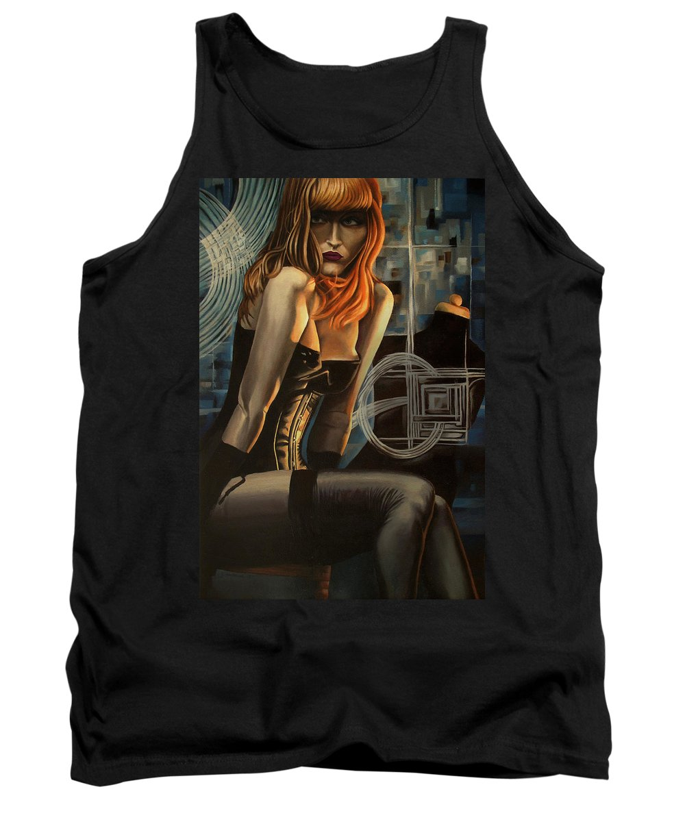 Model Tank Top featuring the painting The Compliment In Cobalt by Timothy Loyd
