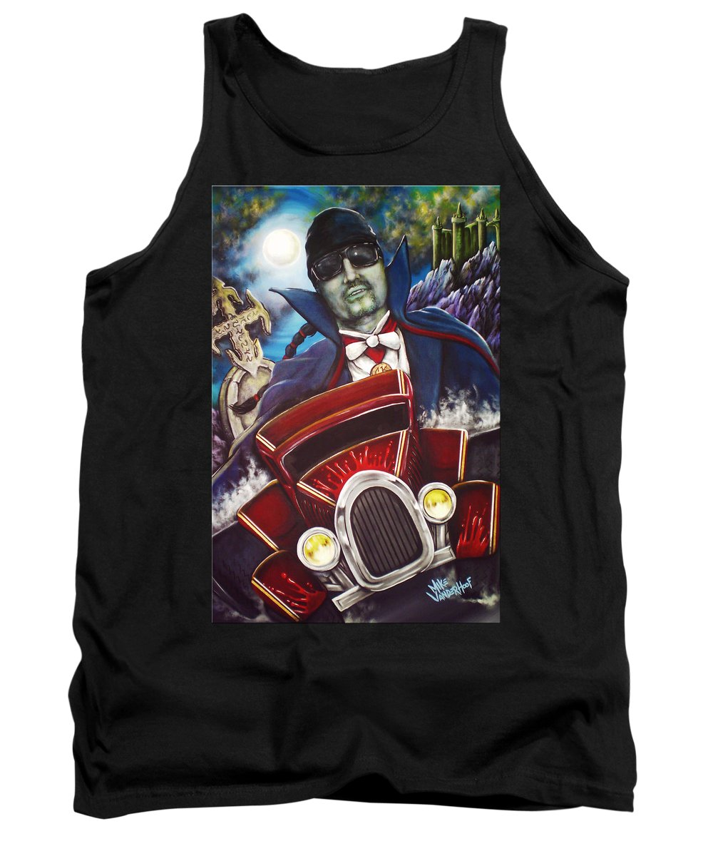 The Count Tank Top featuring the painting The Count Cool Rider by Mike Vanderhoof