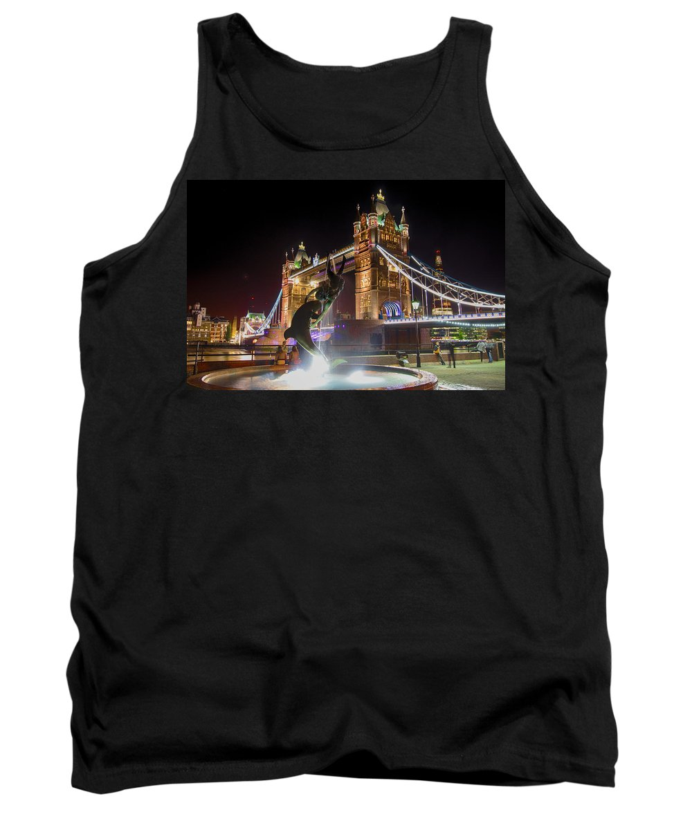 Tower Bridge Canvas Prints Tank Top featuring the photograph The Dolphin And The Girl by Jonah Anderson