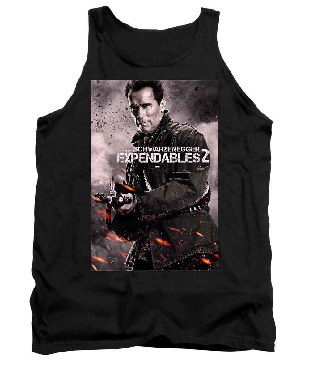 The Expendables 2 Tank Top featuring the photograph The Expendables 2 Schwarzenegger by Movie Poster Prints
