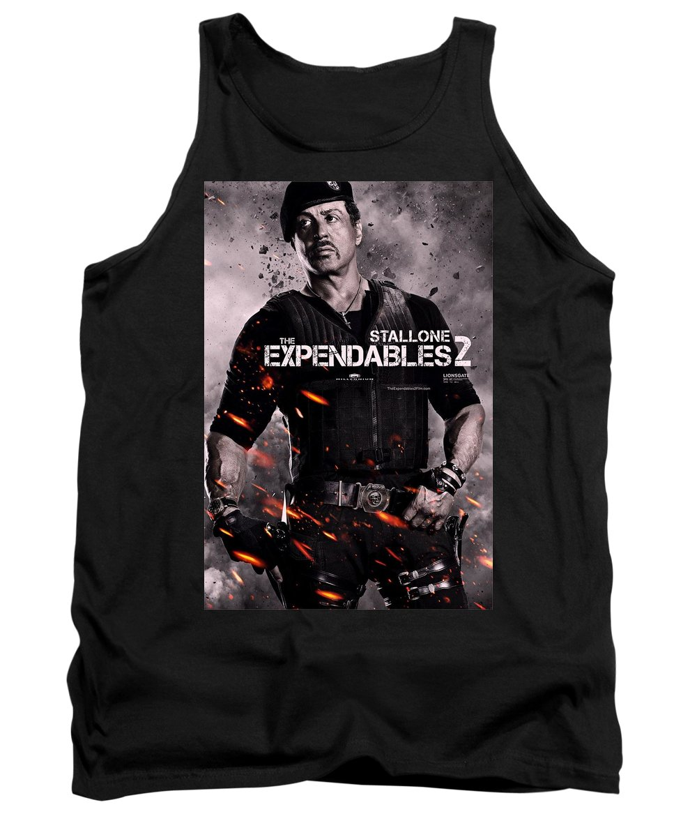 The Expendables 2 Tank Top featuring the photograph The Expendables 2 Stallone by Movie Poster Prints