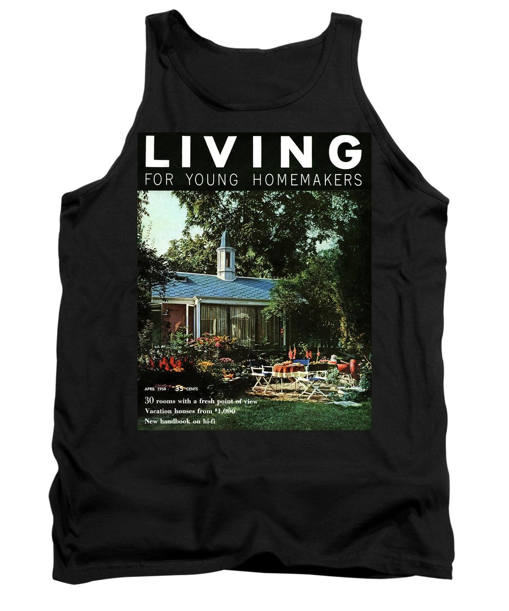 Furniture Tank Top featuring the digital art The Exterior Of A House And Patio Furniture by Nowell Ward