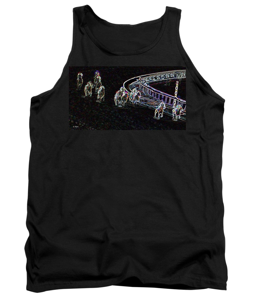 Horse Racing Tank Top featuring the photograph the Final Turn by George Pedro
