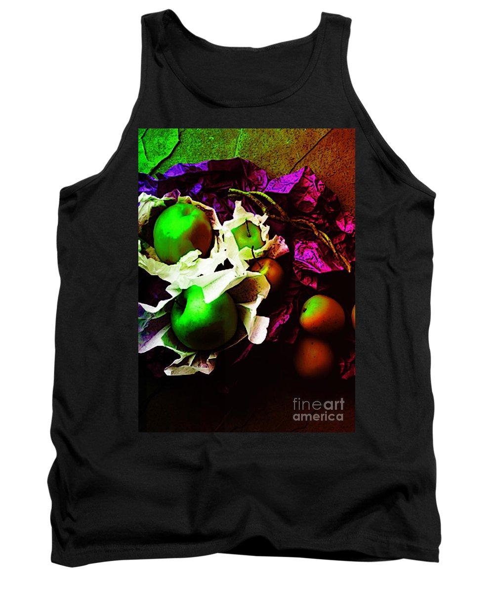 Apples Image Tank Top featuring the digital art The Forbidden Fruit II by Yael VanGruber